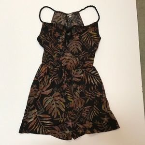 Jungle print pull on romper - corded keyhole back
